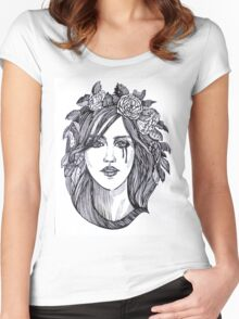 Beautiful crying woman with roses wreath. Women's Fitted Scoop T-Shirt