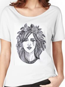 Beautiful crying woman with roses wreath. Women's Relaxed Fit T-Shirt