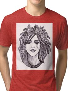 Beautiful crying woman with roses wreath. Tri-blend T-Shirt