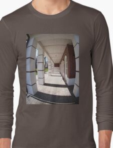 The facade of the city building Long Sleeve T-Shirt