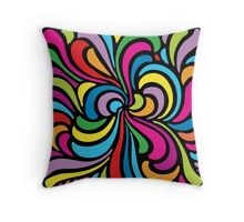 Psychedelic Hippie Abstract Swirl Pattern Throw Pillow
