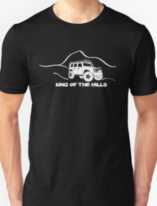 'King of the Hills' Jeep Wrangler 4x4 Sticker T-Shirt Design - White T-Shirt