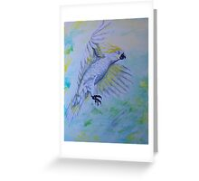 White Cockatoo in Flight UNFINISHED Greeting Card