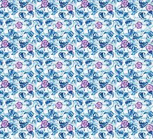 Ipomea Flowers - Morning Glory Floral Pattern by Timone