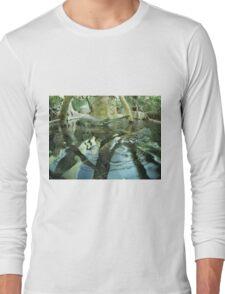 Gavialis gangeticus in zoo pond Long Sleeve T-Shirt