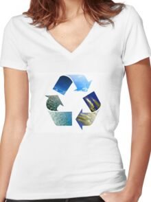 Conceptual recycling sign with images of nature Women's Fitted V-Neck T-Shirt
