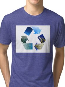 Conceptual recycling sign with images of nature Tri-blend T-Shirt