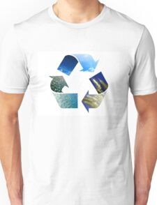 Conceptual recycling sign with images of nature Unisex T-Shirt