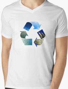 Conceptual recycling sign with images of nature Mens V-Neck T-Shirt