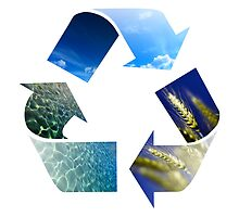 Conceptual recycling sign with images of nature by Digital Editor .