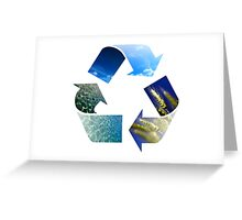 Conceptual recycling sign with images of nature Greeting Card