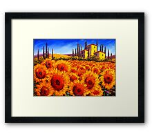 Tuscan Villa in the Sunflowers Framed Print