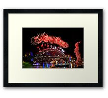 Sydney New Year Eve 2009 Fireworks - Red Framed Print