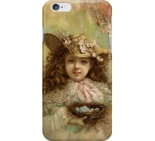 Girl with blue eggs iPhone Case/Skin