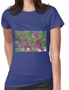 Pink spring flowers on branches Womens Fitted T-Shirt