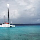 Catamaran moored out in Aruba  by Timothy Gass