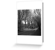 Family Walking In The Winter Sun Greeting Card