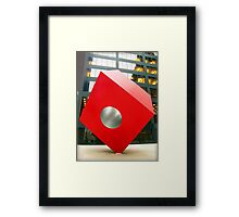 Red Cube Sculpture on Broadway, New York Framed Print