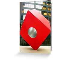 Red Cube Sculpture on Broadway, New York Greeting Card