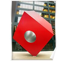 Red Cube Sculpture on Broadway, New York Poster