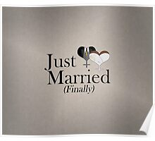 Just Married (Finally) Dress and Tux Hearts Tie Poster