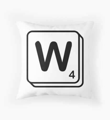 W scrabble print Throw Pillow