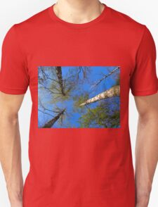 Birch trees on the background of the spring sky T-Shirt