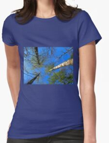 Birch trees on the background of the spring sky Womens Fitted T-Shirt