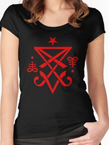 Occult Sigil of Lucifer Satanic Women's Fitted Scoop T-Shirt