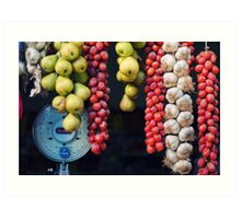 Beauty in tomatoes, garlic and pears Art Print