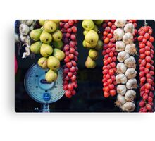 Beauty in tomatoes, garlic and pears Canvas Print