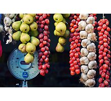 Beauty in tomatoes, garlic and pears Photographic Print