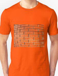 New wall of decorative red bricks close up T-Shirt