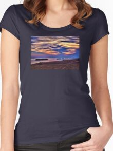 Breakwaters at Sunset - Erie, PA Women's Fitted Scoop T-Shirt