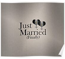 Just Married (Finally) Tuxedo Hearts Tie Poster