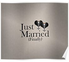 Just Married (Finally) Tuxedo Hearts Bow Tie Poster