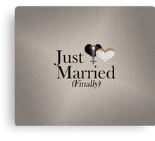 Just Married (Finally) Dress and Tux Hearts Bow Tie Canvas Print