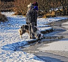 Checking the ice thickness by Karen  Betts