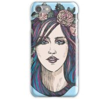 Beautiful woman with roses wreath and blue hair.  iPhone Case/Skin