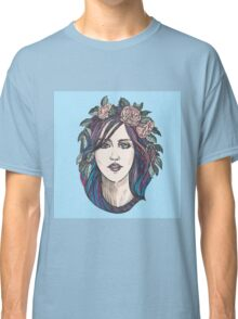 Beautiful woman with roses wreath and blue hair.  Classic T-Shirt