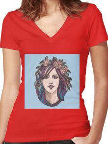 Beautiful woman with roses wreath and blue hair.  Women's Fitted V-Neck T-Shirt