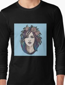 Beautiful woman with roses wreath and blue hair.  Long Sleeve T-Shirt