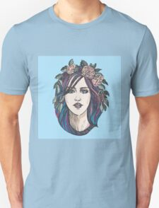 Beautiful woman with roses wreath and blue hair.  Unisex T-Shirt