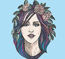 Beautiful woman with roses wreath and blue hair.  by Mehendra