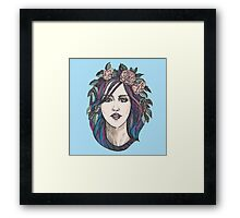 Beautiful woman with roses wreath and blue hair.  Framed Print