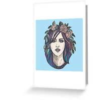 Beautiful woman with roses wreath and blue hair.  Greeting Card