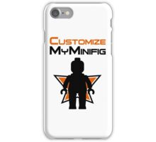 Black Minifig Standing, in front of Customize My Minifig Logo iPhone Case/Skin