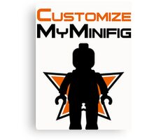 Black Minifig Standing, in front of Customize My Minifig Logo Canvas Print