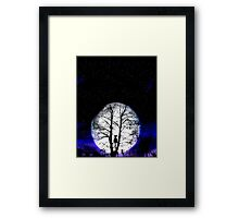 black cat and full moon Framed Print