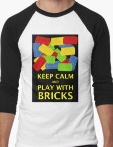 KEEP CALM AND PLAY WITH BRICKS Men's Baseball ¾ T-Shirt